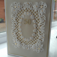 Special parchment golden wedding Anniversary card