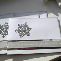 Pack of 4 silver snowflake Christmas cards