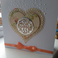 Twin hearts floral Mother's Day card