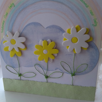 Unisex personalised new baby yellow daisy card