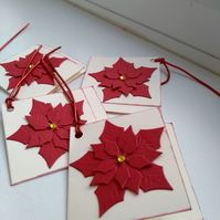Pack of 4 poinsettia gift cards