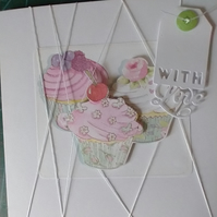 Three cupcakes decoupage with love card