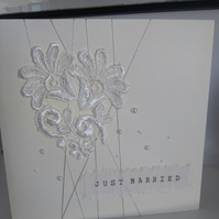 Just married lace wedding card 2