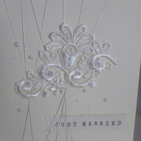 Just married lace wedding card 3