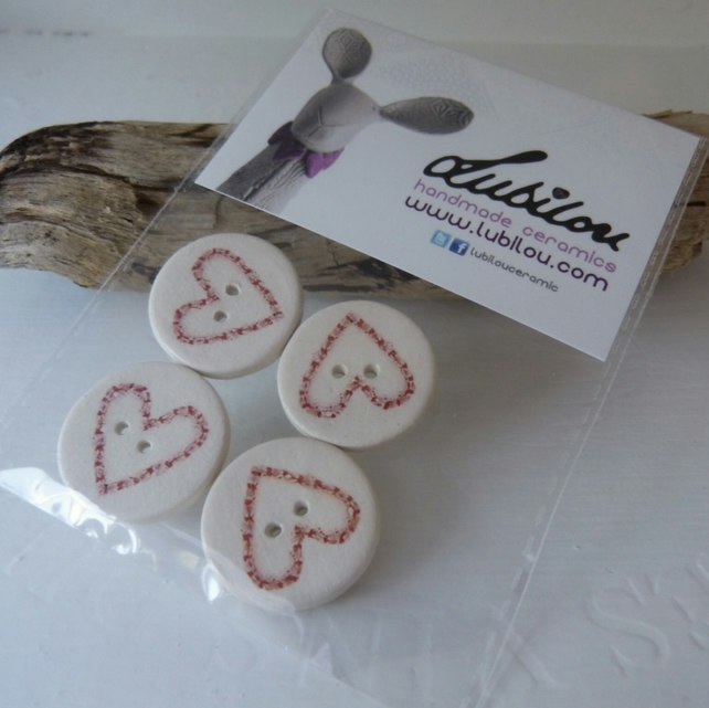 Ceramic Buttons, Buttons, Heart Design, Craft Supplies, Handmade Buttons, OOAK