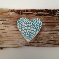 Handmade ceramic heart brooch