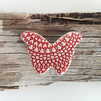 Ceramic textured butterfly brooch