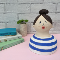 Ceramic Art Gwen, Ceramic Sculpture, Handmade Home Decor, Ceramic Bust, OOAK,