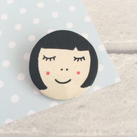 Ceramic Brooch, Ceramic Pin, Ceramic Jewellery, Caramic Face, Cool Pin,