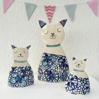 Ceramic Cat, Cat Lover, Cat Home Decor, Gift Set of 3, OOAK, Cats