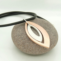 'Mirrored' Two-part Sculptural Pendant in Copper & Sterling Silver OOAK