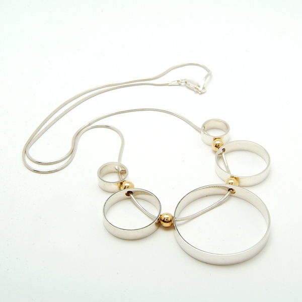 Sterling Silver & 18ct Gold 'Circles' Necklace