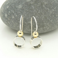 Sterling Silver 'Circle' Earrings with 18ct Gold detail
