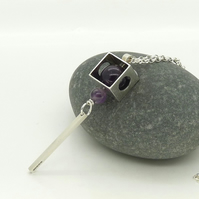 'Cubist' Contemporary Kinetic Pendant with Amethyst