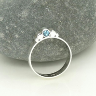 'Silhouette' Ring in Sterling Silver with Blue Topaz UK Size O OOAK