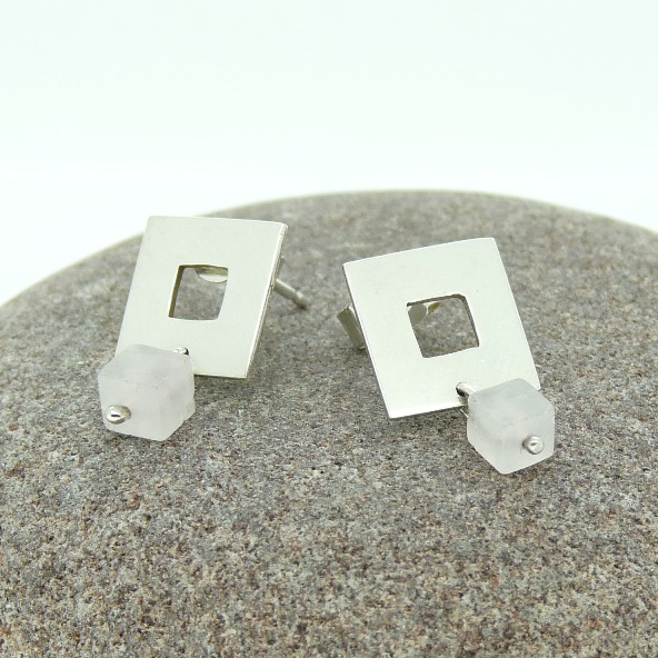 'Squared' Stud Earrings in Sterling Silver with Rose Quartz
