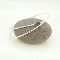 Sterling Silver 'Crossover' Bangle with Smoky Quartz