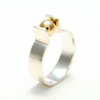 'Orbit' Spinning Kinetic Ring in Sterling Silver with 18ct Gold  UK size P only