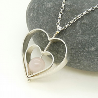 Sterling Silver 'Love' Heart Spinning Pendant with Rose Quartz OOAK