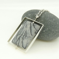 Sterling Silver Long 'Spinner' Kinetic Pendant with Picasso Jasper OOAK