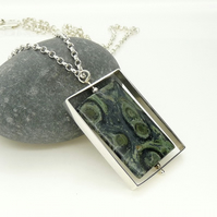 Sterling Silver Long 'Spinner' Kinetic Pendant with Kambaba Jasper