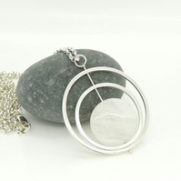 SALE Double 'Spinning Circles' Pendant in Sterling Silver with Rose Quartz
