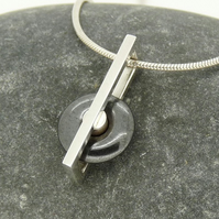 Mini 'Spinning Stones' Kinetic Pendant in Sterling Silver with Hematite