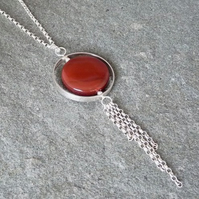 Sterling Silver Circular 'Spinner' Kinetic Pendant with Carnelian Agate