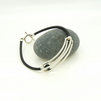 SALE Sterling Silver 'Rolling' Kinetic Bracelet with Black Onyx