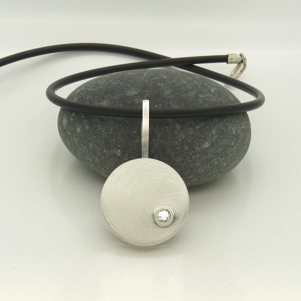 'Brushed Circles' Pendant in Sterling Silver with Cubic Zirconia
