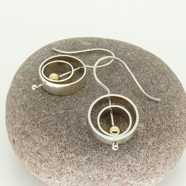 Sterling Silver 'Serenity' Spinning Earrings with 9ct Gold beads