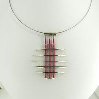'Layers' 3D Statement Pendant in Sterling Silver with Deep Pink Glass Beads OOAK