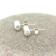 'Silhouette' Stud Earrings in Sterling Silver with white Cubic Zirconia OOAK