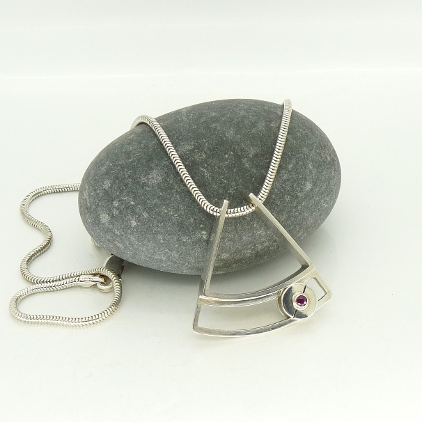 Contemporary Pendant in Sterling Silver with Rolling Ruby