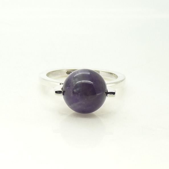 'Globe' Kinetic Spinning Ring in Sterling Silver with Amethyst UK Size M