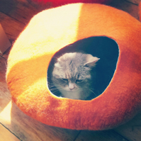 M -  Handmade Felt Cat Cave - Orange and Grey