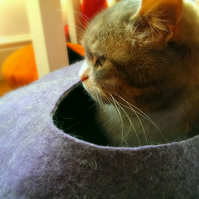 Handmade Felt Cat Cave - Purple and Grey - Size Large