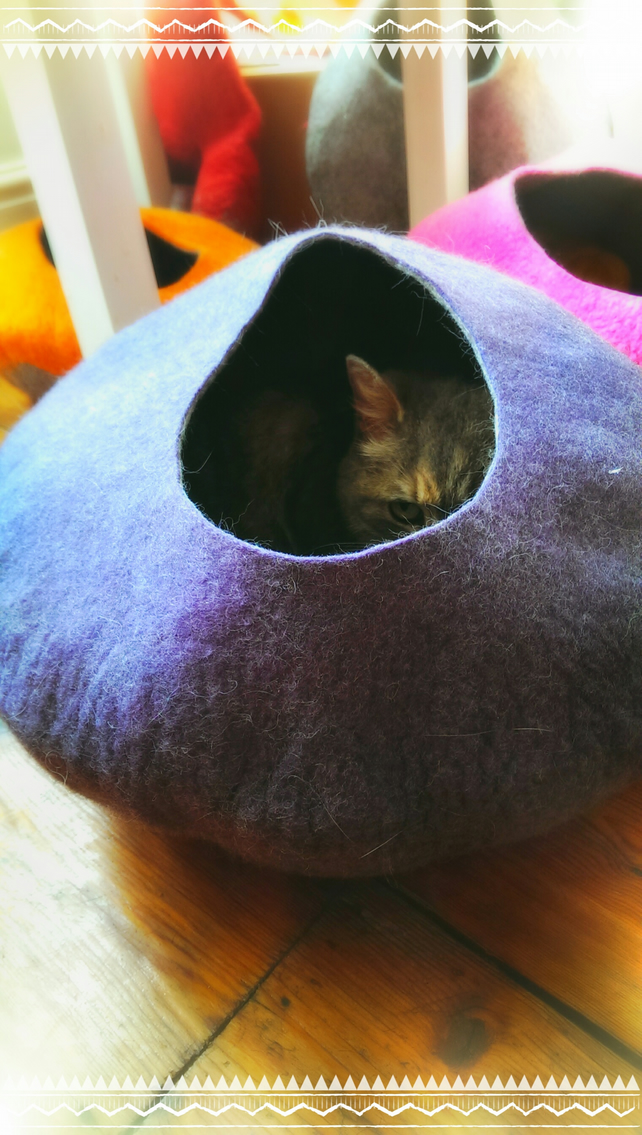Handmade Felt Cat Cave - Purple and Grey - SIze Medium