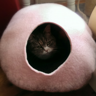Handmade Felt Cat Cave - Candyfloss Pink and Grey - Size Medium