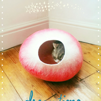 Felt Cat Cave - Red and White - Size Medium - READY TO SHIP