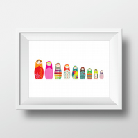 A3 Russian Dolls Big to Small - high quality giclee print