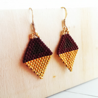 Mini Beaded Kite earrings Brown and Gold