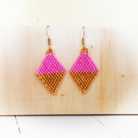 Mini Beaded Kite earrings Pink and Gold