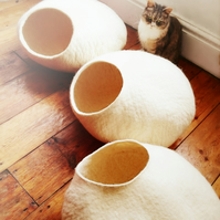 White Cat Cave, cat bed - size L