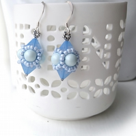 Hand Beaded Earrings with Swarovski Pearls and Crystals in a Pastel Blue Theme