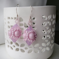 Hand Beaded Earrings with Swarovski Pearls and Crystals in a Pastel Pink Theme