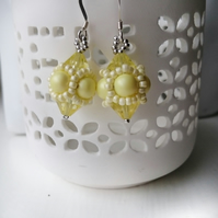 Hand Beaded Earrings with Swarovski Pearls and Crystals in a Pastel Yellow Theme