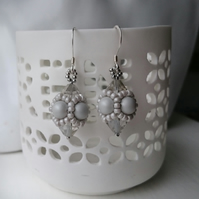 Hand Beaded Earrings with Swarovski Pearls and Crystals in a Pastel Grey Theme