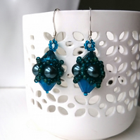 Hand Beaded Earrings with Swarovski Pearls and Crystals in a Dark Emerald theme