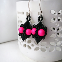 Hand Beaded Earrings with Swarovski Pearls and Crystals in a Neon Pink theme